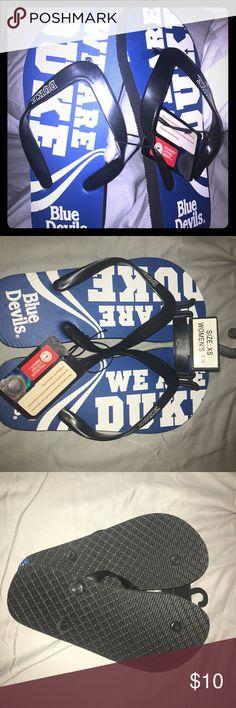 NWT Duke Blue Devils Flip-flops Duke Blue Devils flip flops, size S (5-6). Brand new. Never worn. Shoes Sandals