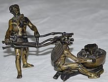 Austrian Vienna Bronze Inkwell 2 Indians by a Fire