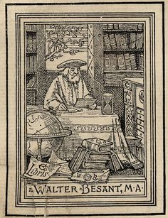 Bookplate of Walter Besant, M A. by J. Vinycomb, engraved by Marcus Ward & Co., Dublin (c. 1899)