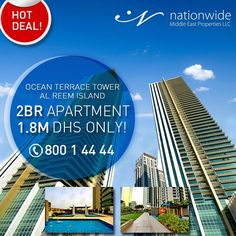2 Br Apartment of1453 sq.ftfor salein Ocean Terrace Tower,Al Reem Island for 1.8M DHSONLY!  Hurry Up, Call us now!  ☎800 1 4444  #reemisland #hotdeal #dreamhouse #milliondollarlisting #oceanterrace #HouseHunting #NewHome #ForSale #RealEstate #Realtor #Realty #Broker #HomeSale #Properties #Investment #JustListed #propertymanagement #instaAbuDhabi #followme #Nationwide_AD #NationwideDeals #AbuDhabi #alreemisland #specialoffer #عقارات #شقق_للبيع