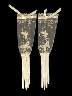 Evening Gloves Made Of Kid Leather, Silk Net, Glass, Silk Ribbon, Appliqued And Machine-Sewn - France   c.1880-1900   -   The Victoria & Albert Museum