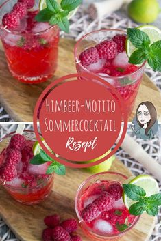 Himbeer-Mojito Cocktail Rezept A great summer cocktail: Raspberry Mojito, also called Raspberry Mojito. With fresh raspberries, mint and rum. Fast preparation, few ingredients. Refreshing Cocktails, Easy Cocktails, Summer Drinks, Raspberry Mojito, Blueberry Mojito, Mojito Cocktail, Cocktail Sauce, Cocktail Movie, Cocktail Shaker