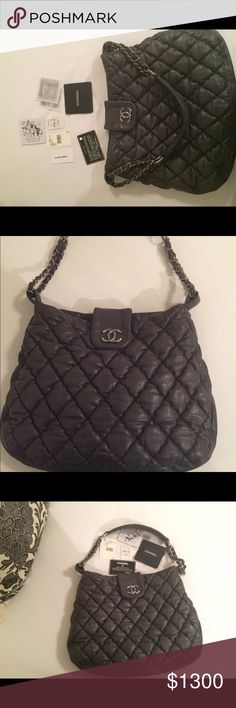 Chanel Gray leather quilted shoulder bag Authentic Chanel gray leather quilted shoulder bag  Larger size has key holder and zipper pocket and other pockets. Beautiful timeless style CHANEL Bags Shoulder Bags
