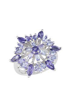 Sterling Silver Lolite & Tanzanite Flower Ring