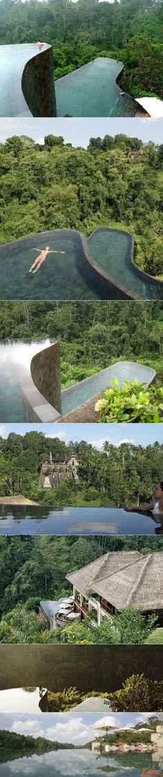 Double infinity pool design from the Bali Ubud Hanging Gardens