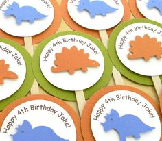handmade DINOSAUR happy birthday cupcake by plumcakeparties, $9.95