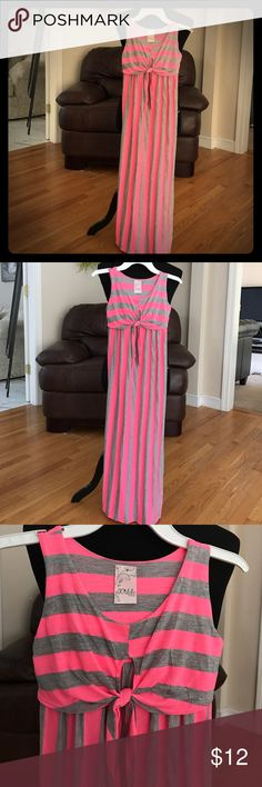 Gorgeous Girls pink stripe maxi dress NWOT Pretty bright pink and gray striped sleeveless maxi dress. No tag but size is 8/10 cotton/poly. Never worn. 41 inches long kiddo by Katie Dresses Casual