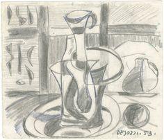 E. Besozzi pitt. 1953 Natura morta matita e biro su carta cm. 10,1x11,6 arc. 456
