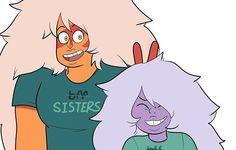 Ok this is cute Rebecca Sugar Art, Jasper Steven Universe, Lapidot, Universe Art, Star Vs The Forces Of Evil, Art Sketches, Peace And Love, Fan Art, Jasper Su