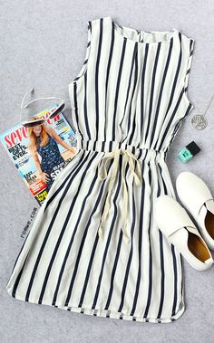 Black Striped Drawstring Waist Dress