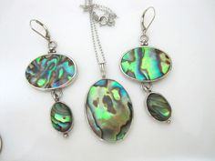 Sterling Silver Earrings and Pendant Set Oval Natural Abalone