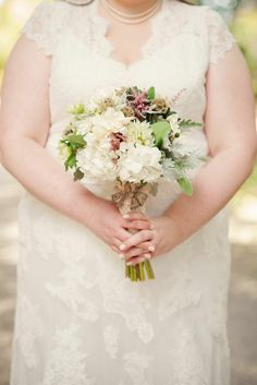 Bridal Bouquet of hydrangeas, anemones, succulents, astilbe, freesia, berzillia, scabiosa pods, dusty miller and lambs ear, Southern Event Planners, Memphis weddings, Photo by Caylan Vanaman