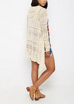 Pointelle Knit Cascading Cardigan