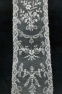 """Alençon lace or point d'Alençon is a needle lace that originated in Alençon, France. It is sometimes called the """"Queen of lace."""" Lace making began in Alençon during the 16th century and the local industry was rapidly expanded during the reign of Louis XIV by Jean-Baptiste Colbert, who established a Royal Workshop in the town to produce lace in the Venetian style in 1665."""