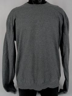 Brooks Brothers Sweater Cashmere Cotton Blend Gray Men's XL Crew Neck Gray 346 #BrooksBrothers #Crewneck