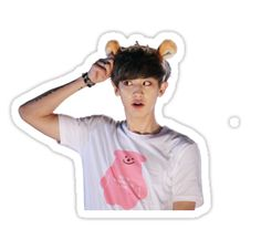 Buy 'Chanyeol (Park Chanyeol) of EXO w/ Headband' by as a Sticker, Transparent Sticker, or Glossy Sticker Chanyeol Cute, Park Chanyeol Exo, Baekhyun, Exo Stickers, Printable Stickers, Cute Stickers, Nct, Kpop Aesthetic, Patches