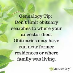 #Genealogy #FamilyHistory #Obituaries #Ancestry #FamilyTree #Ancestors #History #heritage #roots