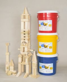 """5 year olds love blocks! This 120 piece wooden blocks set will entertain them for hours. Natural wood, made in the USA.""""Imagination in a Bucket""""! Get it at http://backtoblocks.com/wooden-block-set-crazy-constructor-120-blocks.html"""