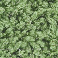 White Christmas - Packed Pine Needles Green Metallic Yardage