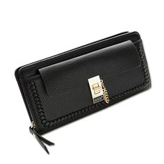 New Design Women's Clutch Wallet Solid Pattern Hasp And Zipper Wallets For Women Leather Card Holder Womens Purse