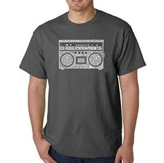 Men's Graphic Novelty T-shirt Tees 100% Cotton - Greatest Rap Hits of The 1980's - Dark Grey - X-Large