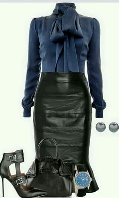 To dress up your leather skirt for the office