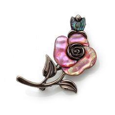 Mother of Pearl Brooch with Pink Rose Design