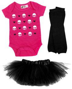 Hearts & Skulls Pink One Piece, Tutu & Leg Warmer 3 Pc Set