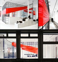 Alexander Wang - Taking note from the bright flashes of color in the new Resort 2012 collection, Alexander Wang presents an intervention to the existing cage structure at 103 Grand Street in which a sculptural form binds and wraps the black metal in a vibrant red rubber skin.