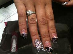 "Black & Silver Jazzled Acrylic Nails With 'Crystal"" Gems ☆ DivaLicious Dymonds☆ BareBodyFrosting.com"