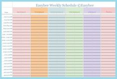 Schedule Template                                                                                                                                                                                 More
