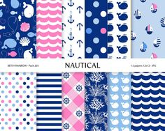 Nautical digital paper, scrapbook paper in navy blue and pink with whale, anchor, coral, stripes and polka dots, scrapbook paper - BR 205
