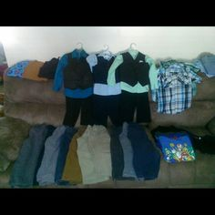 Boys clothes All clothing is in excellent condition, suits are added to this lot or selling individually in my closet.  Sizes are 4t-5t.  2 suits, 10 pairs of pants,  2 button down plaid shirts, 2long sleeve and more. Green suit no longer available Other