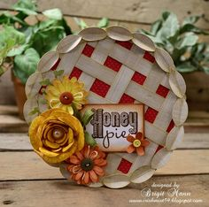handmade card from Brigit's Scraps: Fall Harvest Pie Card ... shaped card ... luv the woven lattice top!