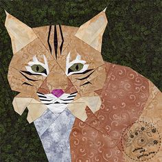 In March I got a request for a bobcat quilt pattern for a school mascot and accepted it right away.  I wanted to give my block a stylized feel,