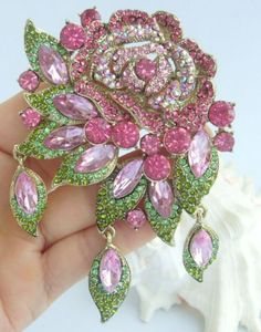 Vintage-3-94-Pink-Austrian-Crystal-Flower-Rose-Brooch-Pin-Party-Jewelry-06454C2