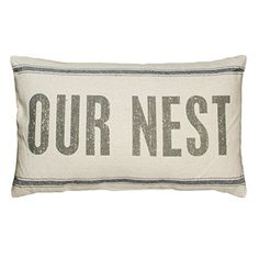 Vintage Style Sack Our Nest Throw Pillow Primitives by Kathy Farmhouse Bedroom Decor, Farmhouse Style Decorating, Primitive Bedroom, Linen Pillows, Throw Pillows, Bed Linens, Decorative Pillows, Cushions, Wicker Storage Trunk