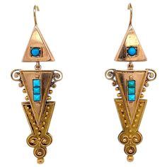 Victorian Turquoise and 14 karat Gold Drop Earrings Gold Drop Earrings, Chandelier Earrings, Victorian Gold, 14 Karat Gold, Sparkles, Dangles, Fine Jewelry, Turquoise, Beads