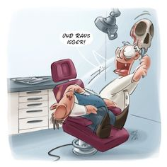 LACHHAFT Cartoon No. 406 (medium) Good Jokes, Funny Jokes, Funny Illustration, Dental Hygienist, Cartoon Characters, Fictional Characters, Dental Health, Pictures To Draw, Satire