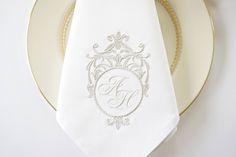 Sterling Silver Monogram Design Embroidered Dinner Napkins, Hand Towels - Wedding Keepsake for Special Occasions