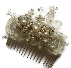 bridal lace comb vintage inspired wedding hair