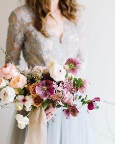   peach, pink, purple, blush, ivory fine art wedding floral bouquet
