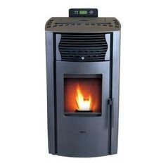 EPA Certified Pellet Stove with Auto Ignition and 47 lb. - The Home Depot Pellet Burner, Wood Burning Cook Stove, Wood Pellet Stoves, Black Dog Salvage, Home Thermostat, Ikea Living Room, Living Rooms, Firewood Logs, Backyard Pergola