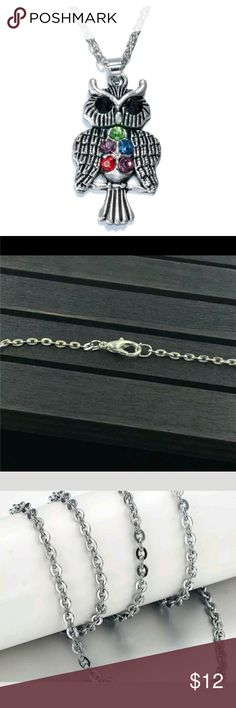 Vintage Style Rhinestone Owl Pendant Necklace Vintage Style Rhinestone Owl Pendant Necklace, new Jewelry Necklaces