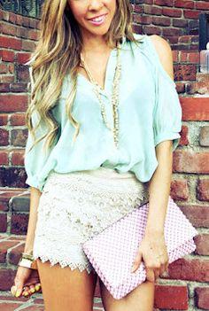 mint chiffon blouse ♥