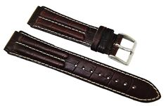 Timex 18mm R-L Dark Brown Double Padded Crocodile Grain Leather Sports Watch Band ** Learn more by visiting the image link.