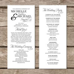 Printable Wedding Program - the Chloe collection | Wedding ...