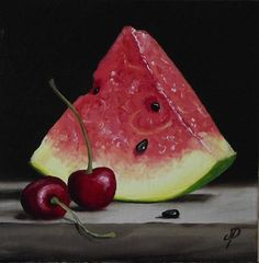 """Daily+Paintworks+-+""""Watermelon+with+Cherries""""+-+Original+Fine+Art+for+Sale+-+©+Jane+Palmer"""