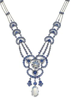 Moonstone, sapphire, and diamond necklace designed by Louis Comfort Tiffany, circa 1910. Via Sotheby's.