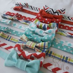 Baby Toddler Boys Bow Ties  Red and Aqua Collection by EvaandDell, $12.00